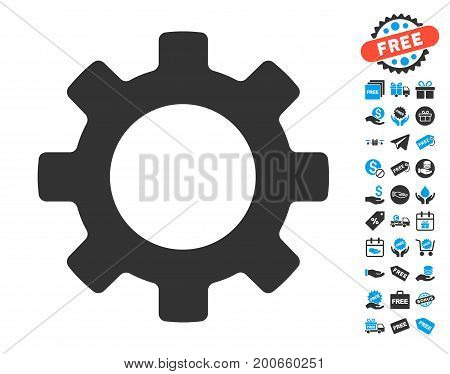 Gear gray pictograph with free bonus pictograph collection. Vector illustration style is flat iconic symbols.