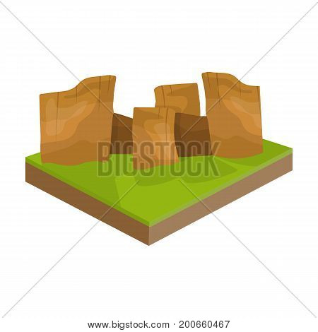 Mountains, rocks and landscape. Relief and mountains single icon in cartoon style isometric vector symbol stock illustration .