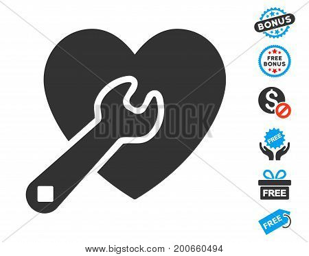 Heart Wrench Tools gray icon with free bonus pictograms. Vector illustration style is flat iconic symbols.
