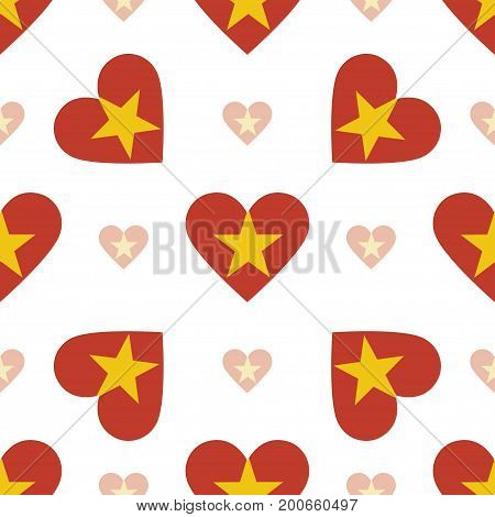 Vietnam Flag Heart Seamless Pattern. Patriotic Vietnam Flag Background. Country Flag In The Shape Of