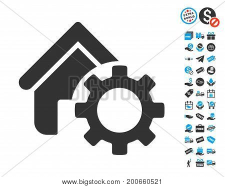 Homepage Options Gear gray icon with free bonus design elements. Vector illustration style is flat iconic symbols.