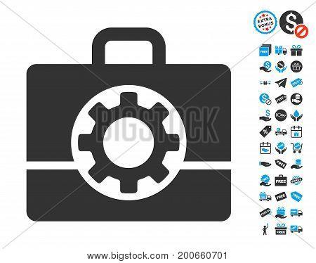 Mechanics Case grey icon with free bonus images. Vector illustration style is flat iconic symbols.