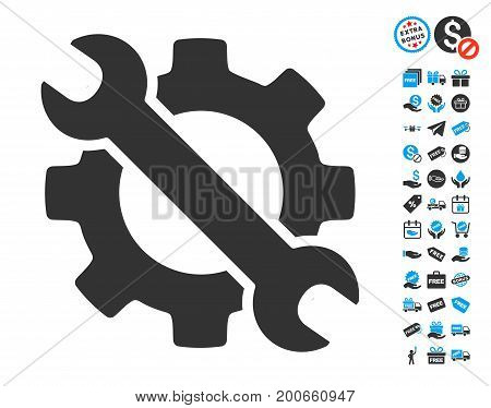 Wrench And Gear Setup Tools gray pictograph with free bonus icon set. Vector illustration style is flat iconic symbols.