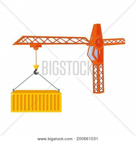 Moving the container with a tower crane. Moving and delivery single icon in cartoon style isometric vector symbol stock illustration .