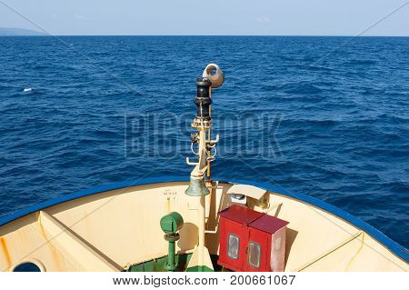 Bow Of Indian Ship At Andaman Islands. View From A Big Indian Ship To The Indian Ocean.
