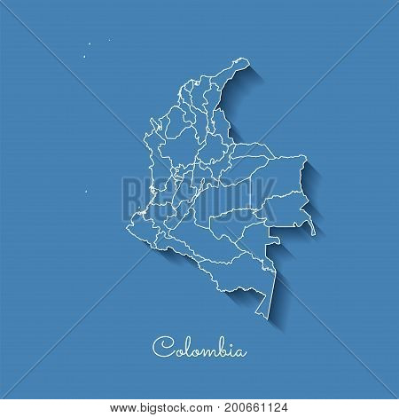 Colombia Region Map: Blue With White Outline And Shadow On Blue Background. Detailed Map Of Colombia