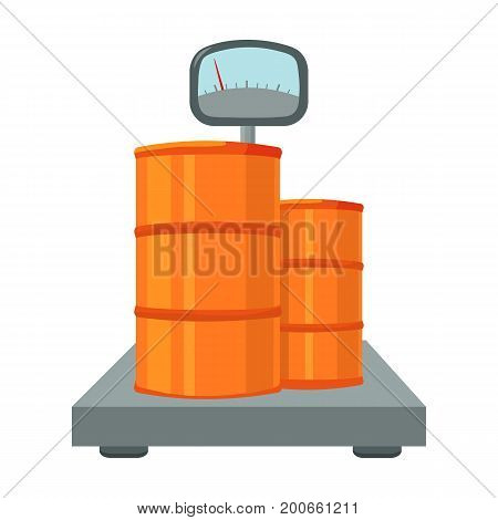 Weighing the load on the scales. Shipping and accounting single icon in cartoon style isometric vector symbol stock illustration .