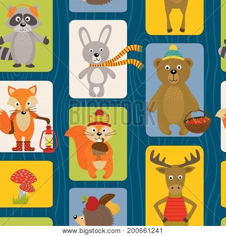 seamless pattern with animals of forest  - vector illustration, eps
