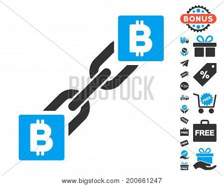 Bitcoin Blockchain pictograph with free bonus design elements. Vector illustration style is flat iconic symbols.