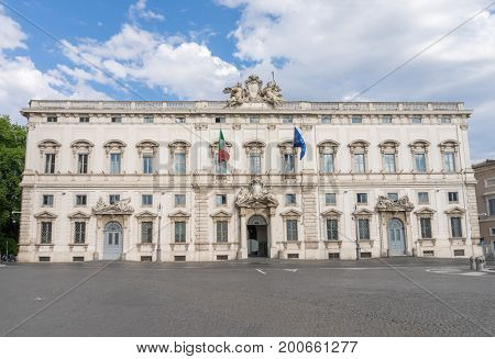 The Palazzo della Consulta at Piazza del Quirinale in the center of Rome, Italy. It was built in 1732-1735 in the baroque style.