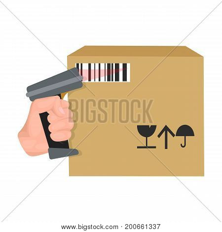 Scan the bar code on the box. Logistics and delivery single icon in cartoon style isometric vector symbol stock illustration .
