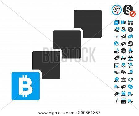 Bitcoin Blockchain icon with free bonus images. Vector illustration style is flat iconic symbols.