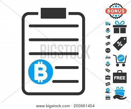 Bitcoin Price List pictograph with free bonus design elements. Vector illustration style is flat iconic symbols.