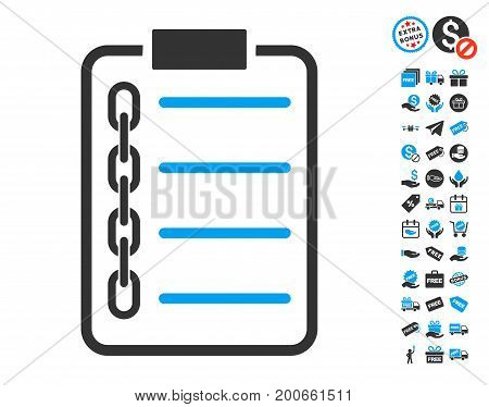 Blockchain Contract icon with free bonus graphic icons. Vector illustration style is flat iconic symbols.