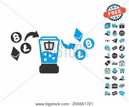 Cryptocurrency Mixer pictograph with free bonus graphic icons. Vector illustration style is flat iconic symbols.