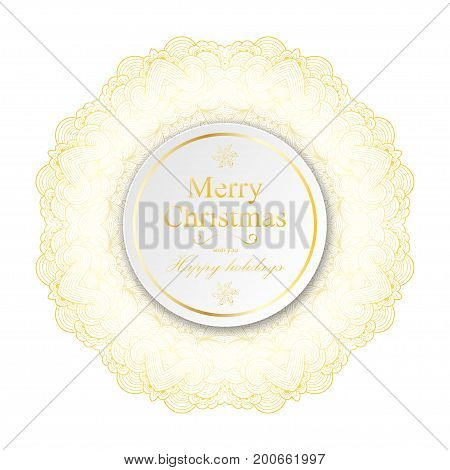 New Year and Christmas card template. Vintage mandala snowflake decorative element. Round white paper circle banner with drop shadow. Sparkling golden elements. Vector illustration