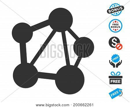 Network pictograph with free bonus images. Vector illustration style is flat iconic symbols.