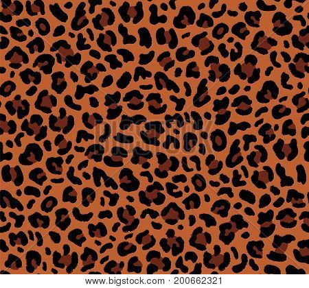 Seamless leopard pattern 80s 90s style.Fashionable exotic animal print.Vector
