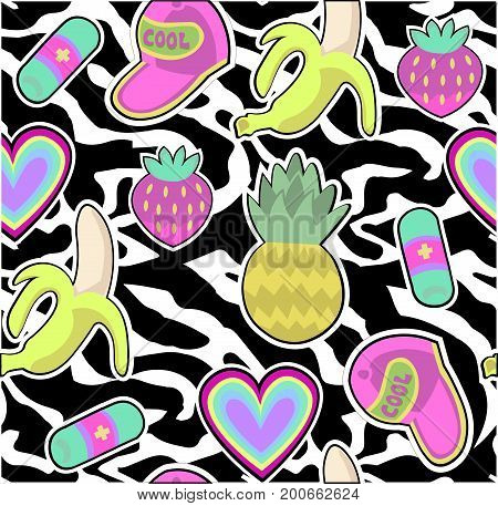 seamless pattern with fashion patch badges pineapple, banana, strawberry etc on zebra print background 80s 90s style.vector