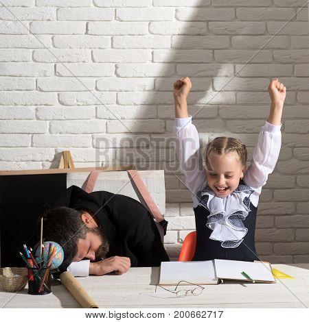 Schoolgirl With Positive Emotions And Her Sleeping Tutor