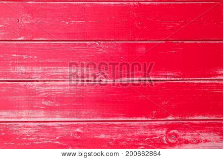 Red Wooden Background With Copy Space For Advertisement Or Your Free Text Here. Texture With Shabby Chic Or Vintage Style