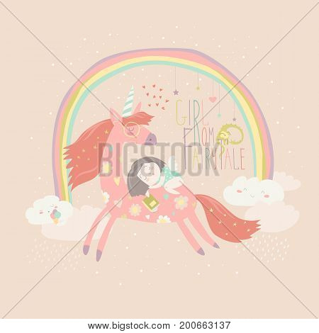 Cute cartoon girl with unicorn. Vector illustration