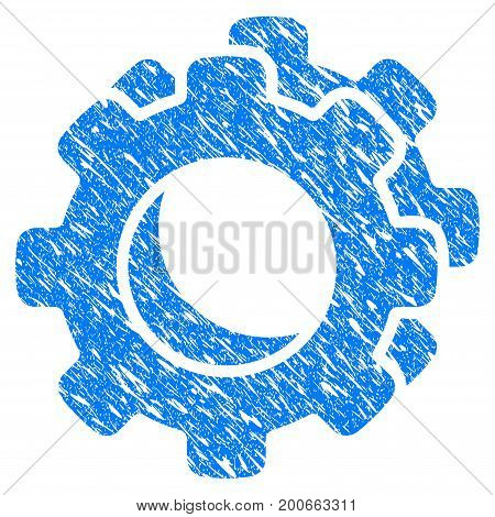 Grunge Gears icon with grunge design and dust texture. Unclean vector blue pictogram for rubber seal stamp imitations and watermarks. Draft emblem symbol.