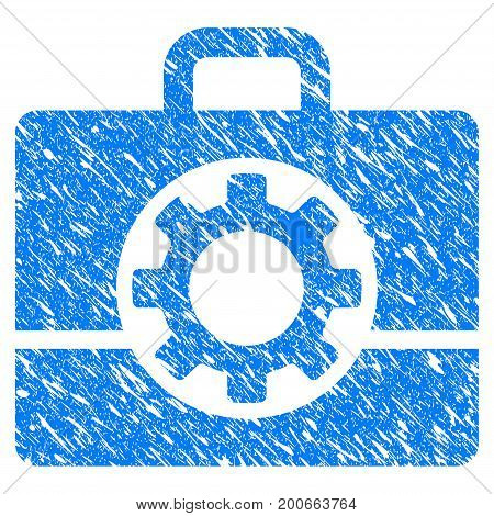 Grunge Mechanics Case icon with grunge design and dust texture. Unclean vector blue pictogram for rubber seal stamp imitations and watermarks. Draft emblem symbol.