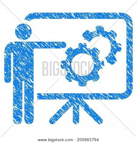 Grunge Mechanics Report Board icon with grunge design and dust texture. Unclean vector blue pictogram for rubber seal stamp imitations and watermarks. Draft emblem symbol.