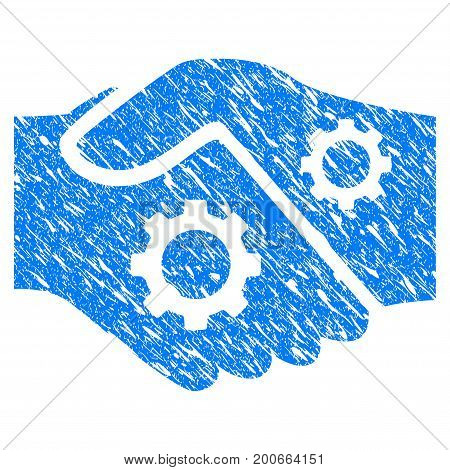 Grunge Smart Contract Handshake icon with grunge design and dust texture. Unclean vector blue pictogram for rubber seal stamp imitations and watermarks. Draft sign symbol.