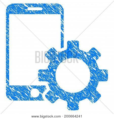 Grunge Smartphone Configuration Gear icon with grunge design and dirty texture. Unclean vector blue pictogram for rubber seal stamp imitations and watermarks. Draft emblem symbol.