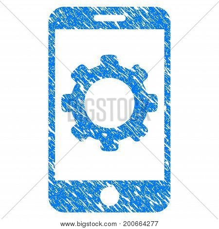 Grunge Smartphone Options Gear icon with grunge design and dust texture. Unclean vector blue pictogram for rubber seal stamp imitations and watermarks. Draft sign symbol.