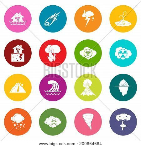 Natural disaster icons many colors set isolated on white for digital marketing