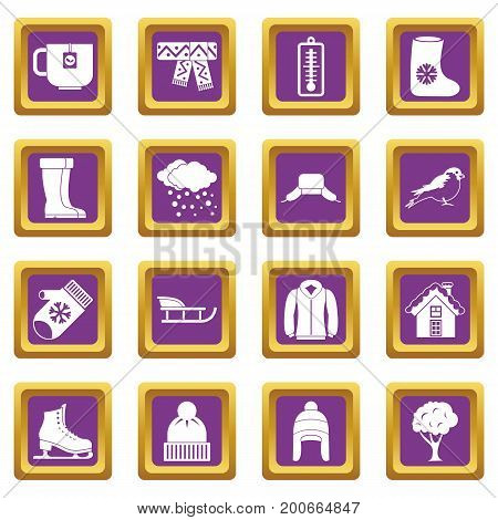 Winter icons set in purple color isolated vector illustration for web and any design