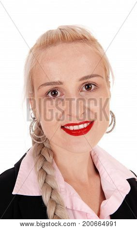 A closeup image of a gorgeous young blond woman with her hair braided and with big eyes isolated for white background