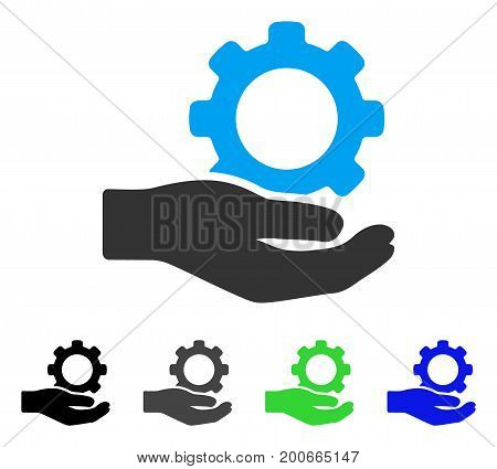 Engineering Service Gear Hand flat vector pictogram. Colored engineering service gear hand, gray, black, blue, green pictogram versions. Flat icon style for application design.