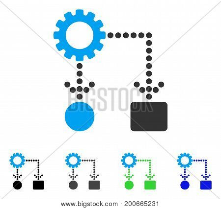Flow Chart Configuration flat vector icon. Colored flow chart configuration, gray, black, blue, green pictogram variants. Flat icon style for web design.