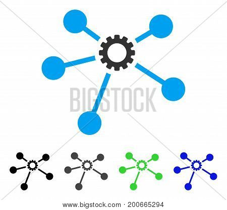 Gear Connections flat vector pictogram. Colored gear connections, gray, black, blue, green icon versions. Flat icon style for application design.