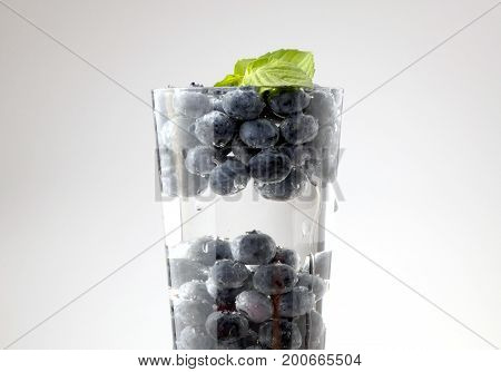 Blueberries in glass of water isolated on white