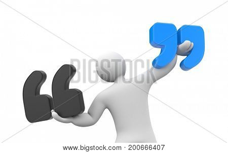 People holding signs of quoting. Quote metaphor. 3D illustration