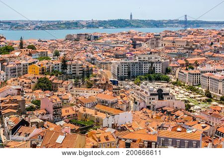 Aerial view of Lisbon from the Senhora do Monte viewpoint, located in the Graça neighborhood, Portugal