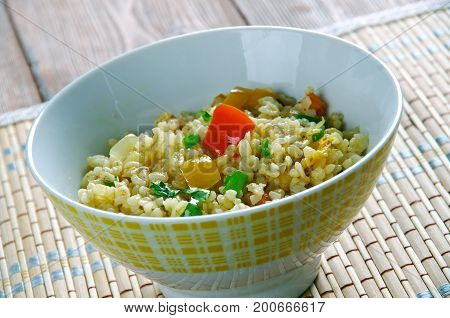 Armenian Bulgur Pilaf Salad - Itch. close up  meal,