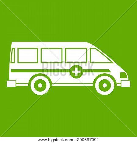 Ambulance emergency van icon white isolated on green background. Vector illustration