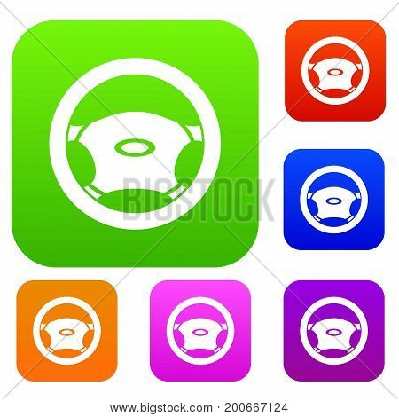 Steering, wheel set icon in different colors isolated vector illustration. Premium collection
