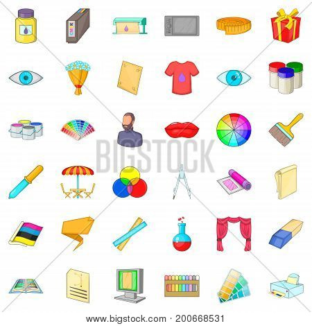 Artist icons set. Cartoon style of 36 artist vector icons for web isolated on white background