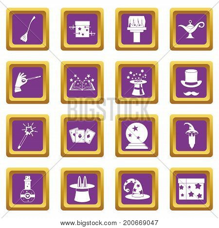 Magic icons set in purple color isolated vector illustration for web and any design