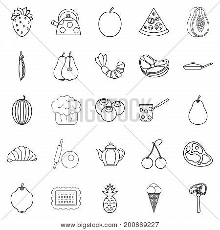 Berry icons set. Outline set of 25 berry vector icons for web isolated on white background
