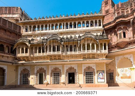 JODHPUR RAJASTHAN INDIA - MARCH 05 2016: Horizontal picture of the beautiful architecture of Mehrangarh Fort in Jodhpur the blue city of Rajasthan in India.