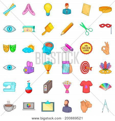 Art work icons set. Cartoon style of 36 art work vector icons for web isolated on white background