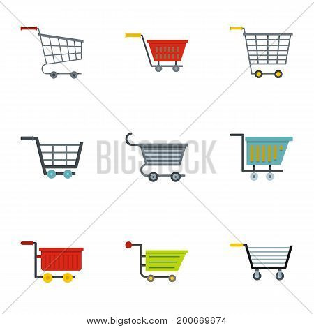 Shop wheel cart icon set. Flat set of 9 shop wheel cart vector icons for web isolated on white background
